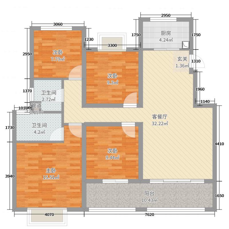 中南山锦花城120.00㎡19#F户型4室4厅2卫1厨