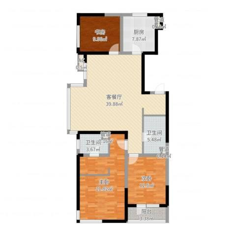 万科金域蓝湾3室2厅2卫1厨132.00㎡户型图