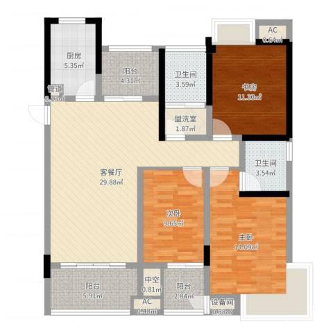 鸿益千秋3室2厅2卫1厨119.00㎡户型图