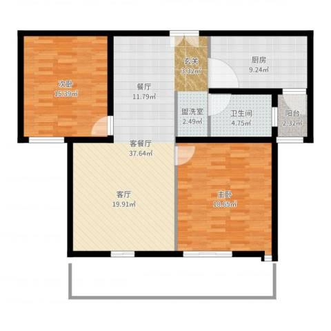 金汉绿港2室2厅1卫1厨110.00㎡户型图