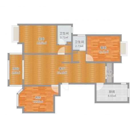 农房・英伦尊邸3室1厅2卫1厨122.00㎡户型图