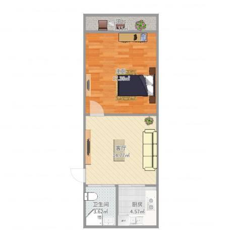 海滨七村1室1厅1卫1厨54.00㎡户型图