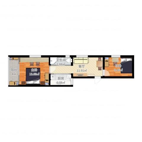 红联北村2室1厅1卫1厨54.00㎡户型图