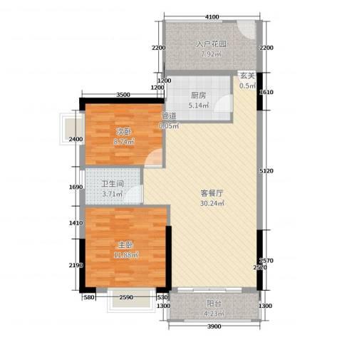 富盈公馆2室2厅1卫1厨91.00㎡户型图