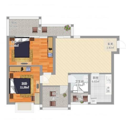 领馆逸品2室2厅1卫1厨106.00㎡户型图