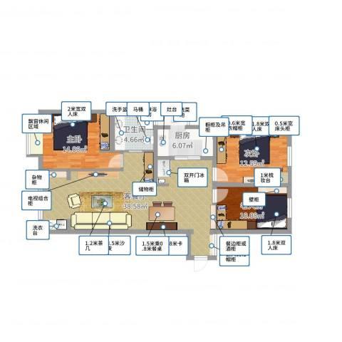 广福花园3室2厅1卫1厨108.00㎡户型图