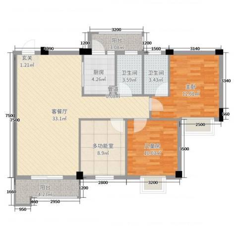 真美花园2室2厅2卫1厨105.00㎡户型图