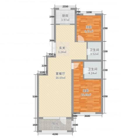 建荣・皇家海岸2室2厅2卫1厨107.00㎡户型图