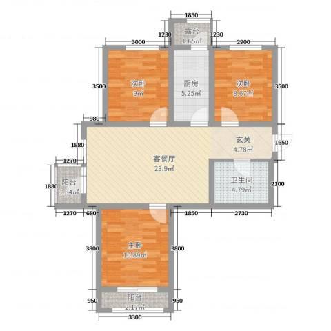 建荣・皇家海岸3室2厅1卫1厨89.00㎡户型图