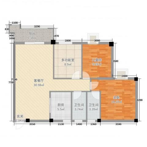 真美花园2室2厅2卫1厨106.00㎡户型图