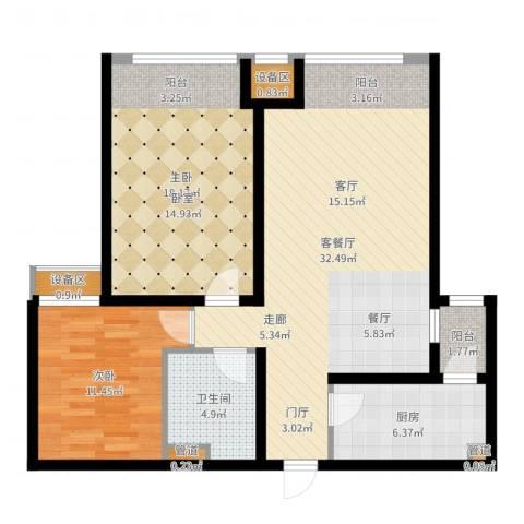 泰达汉郡2室2厅1卫1厨97.00㎡户型图