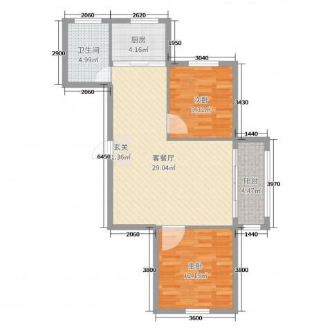 泓都城2室2厅1卫1厨90.00㎡户型图