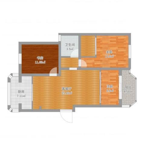 八一路599号宝岛世纪园20幢2-c室3室2厅1卫1厨96.00㎡户型图
