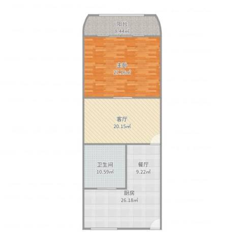 长海四村1室1厅1卫1厨116.00㎡户型图