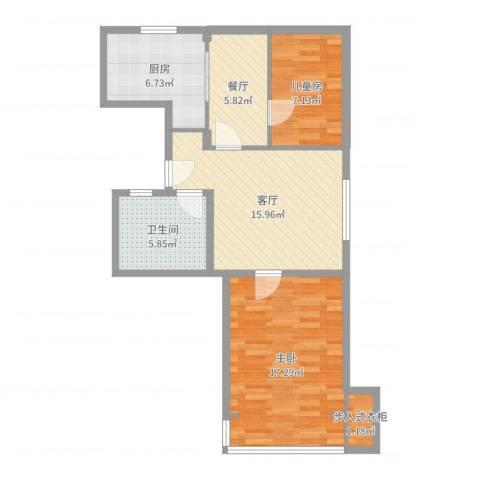 长海三村2室2厅1卫1厨75.00㎡户型图