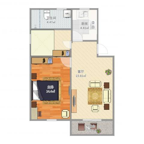 学前二村1室1厅1卫1厨63.00㎡户型图