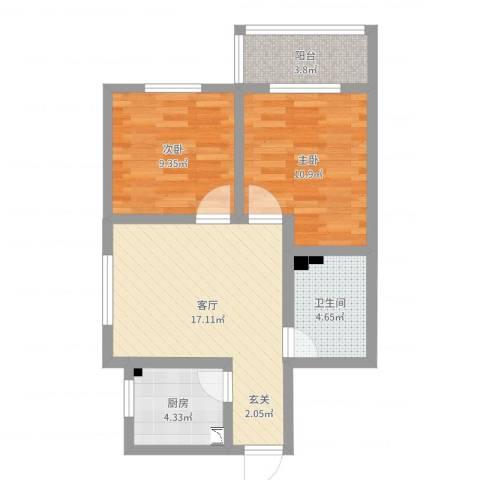 迎宾小区2室1厅1卫1厨63.00㎡户型图