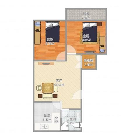 洪苑小区2室1厅1卫1厨57.00㎡户型图