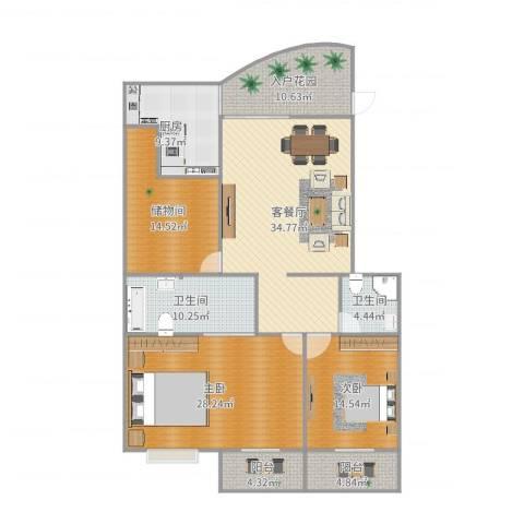 佳韵园2室2厅2卫1厨170.00㎡户型图