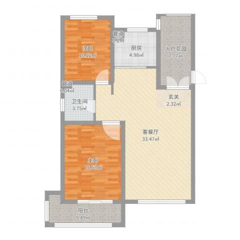 文化星城2室2厅1卫1厨102.00㎡户型图