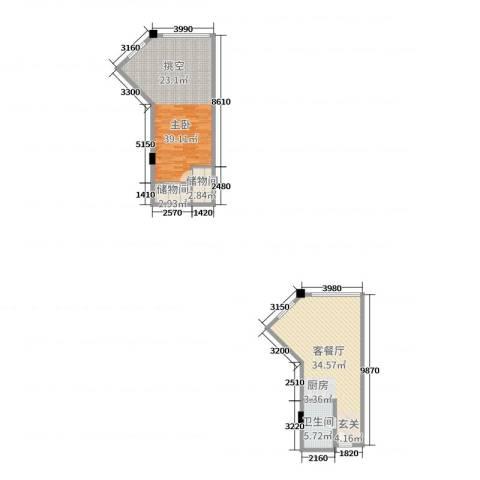华岸春天城市广场1室2厅1卫0厨85.17㎡户型图