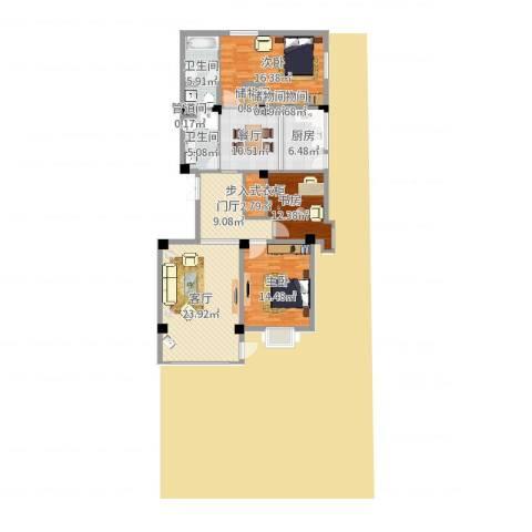 水云居3室1厅4卫1厨131.00㎡户型图