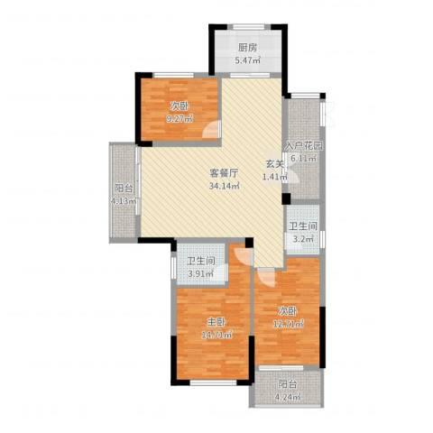金色阳光花园3室2厅2卫1厨122.00㎡户型图