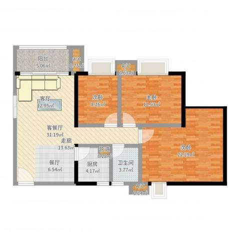 金碧雅苑3室2厅1卫1厨112.00㎡户型图