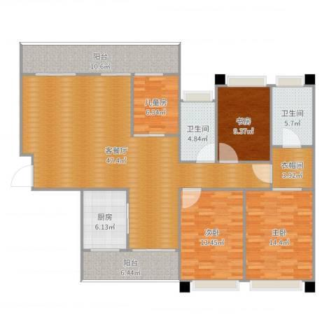 海岸万和城6栋2号房4室2厅2卫1厨146.00㎡户型图