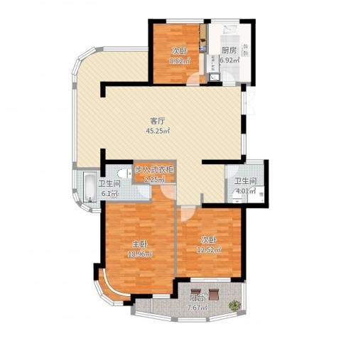 金色水岸3室1厅2卫1厨141.00㎡户型图