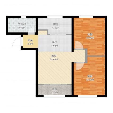 中海八里臺2室1厅1卫1厨95.00㎡户型图