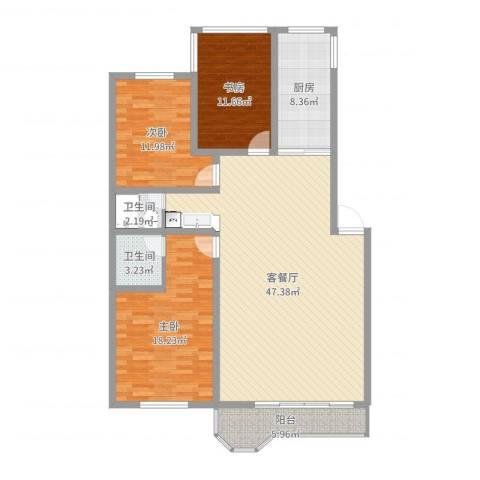 郁金花园3室2厅2卫1厨136.00㎡户型图
