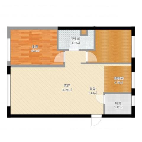 天福城1室1厅1卫1厨75.00㎡户型图