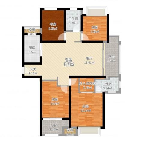 农房澜山4室1厅2卫1厨131.00㎡户型图