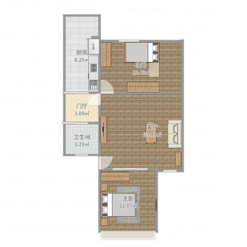 祥富里2室1厅1卫1厨74.00㎡户型图