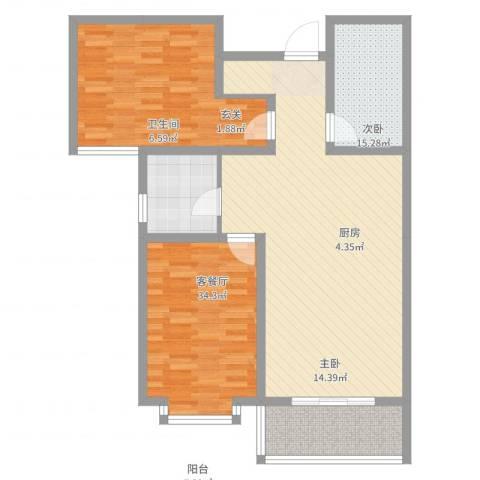 太原文兴苑2室2厅1卫1厨80.29㎡户型图