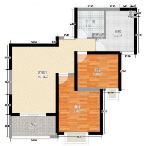 铭城国际社区2室2厅1卫1厨72.00㎡户型图