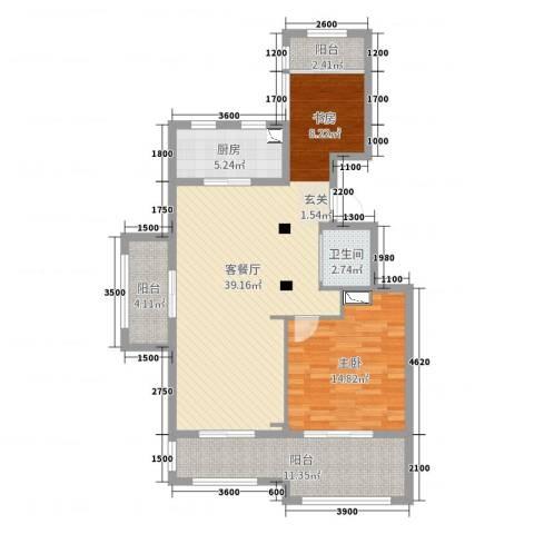 金泰南燕湾1室2厅1卫1厨87.00㎡户型图