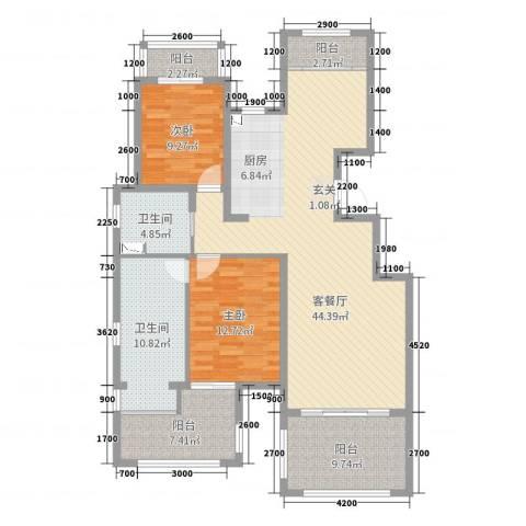 金泰南燕湾2室2厅2卫0厨113.00㎡户型图