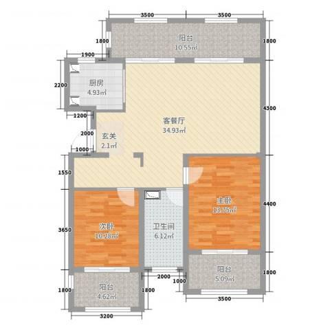 金泰南燕湾2室2厅1卫1厨107.00㎡户型图