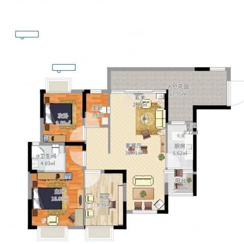 星越・星湖华府4室2厅1卫1厨128.00㎡户型图