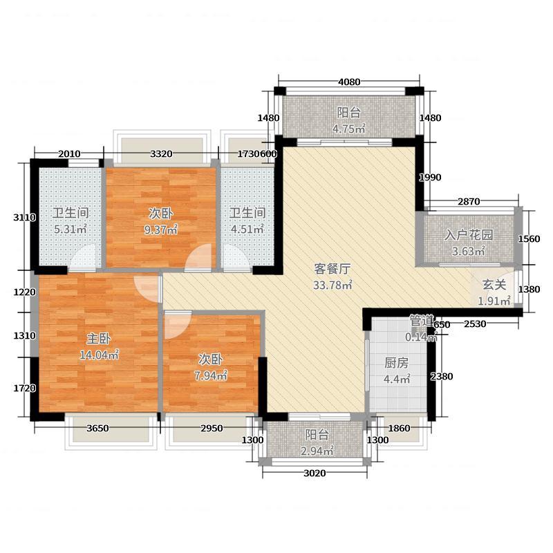 鸿安御花园114.00㎡2座02单元户型3室3厅2卫1厨