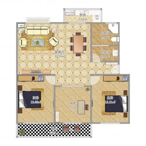实达文华公寓3室2厅2卫1厨95.00㎡户型图