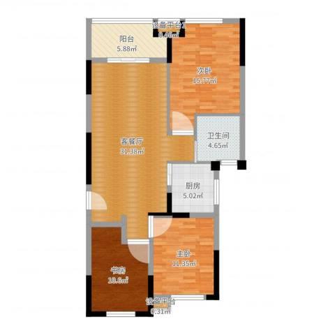 平湖观邸3室2厅1卫1厨107.00㎡户型图