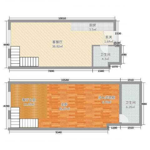 TOUCH悦城1室2厅2卫0厨112.00㎡户型图