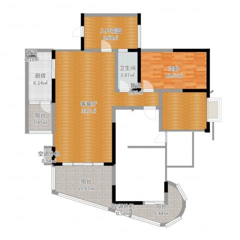 育才竹岛1室2厅1卫1厨129.00㎡户型图