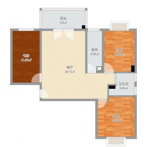 海�国际3室1厅1卫1厨102.00㎡户型图