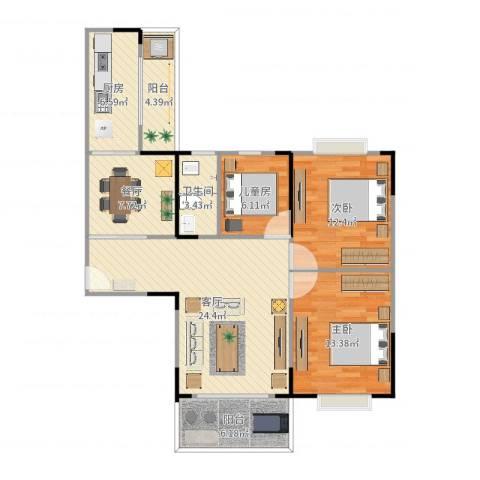 锦绣银湾3室2厅1卫1厨106.00㎡户型图