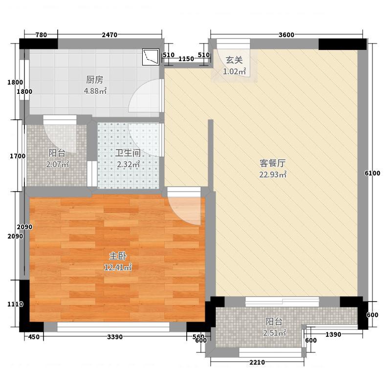 鑫远和城65.14㎡A1户型1室1厅1卫1厨
