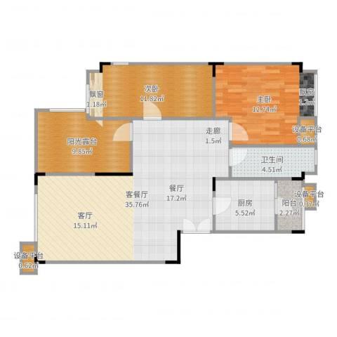 琴台颖园2室2厅1卫1厨105.00㎡户型图